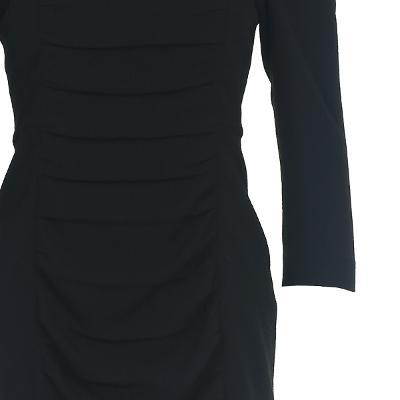 shirring detail puff sleeve dress black